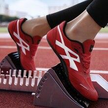 Здоровье рельсовый костыль беговая Обувь для бега трек и полевая обувь с сеткой дышащий легкий профессиональный спортивная обувь с шипами 35-45