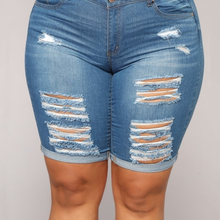 Shorts Pants Tight Ripped Fat-Girl Summer Fashion Denim America Curled And Europe Five-Point