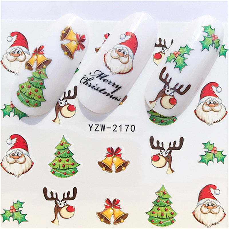 2019 NEW Winter Christmas Slider Nail Decals Nail Art Sticker DIY Manicure Water Accessory Transfer Foil Xmas Gift
