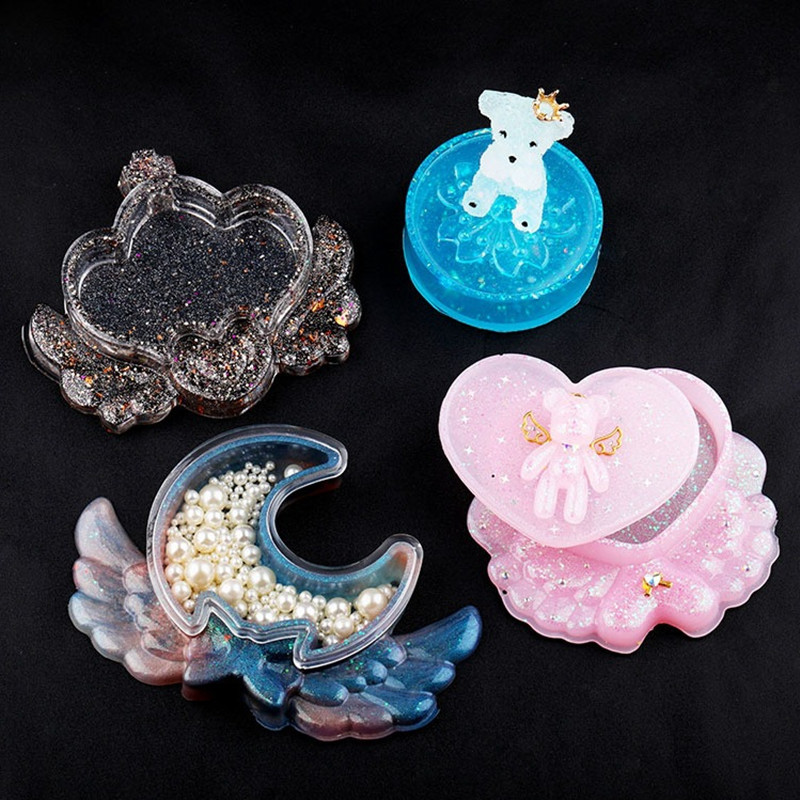 SNASAN Storage Box Wing Heart Moon Cherry Blossoms Resin Silicone Mould Jewelry Making DIY Tool UV Epoxy Resin Box Silicone Mold