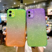 Fashion Glitter Bling Aurora Kartonnen Telefoon Gevallen Voor Iphone 12 Mini 11 Pro Xs Max Xr X 8 7 Plus se 2020 Luxe Soft Tpu Cover