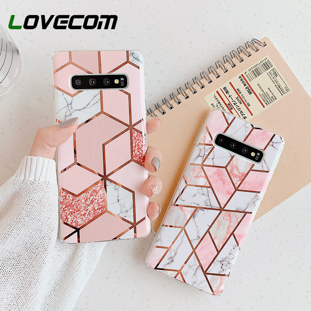 LOVECOM Phone Case For Samsung Galaxy Note 10 A50 A70 A51 A71 S20 S10 S9 Plus Electroplated Geometric Marble Soft IMD Back Cover(China)