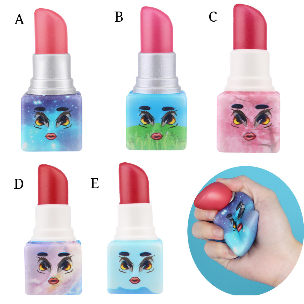 Christmas Toy Slow Rising Scented Lipstick Stress Relief Kawaii Adorable Toy Simulation Lipstick Decompression Toy L0119
