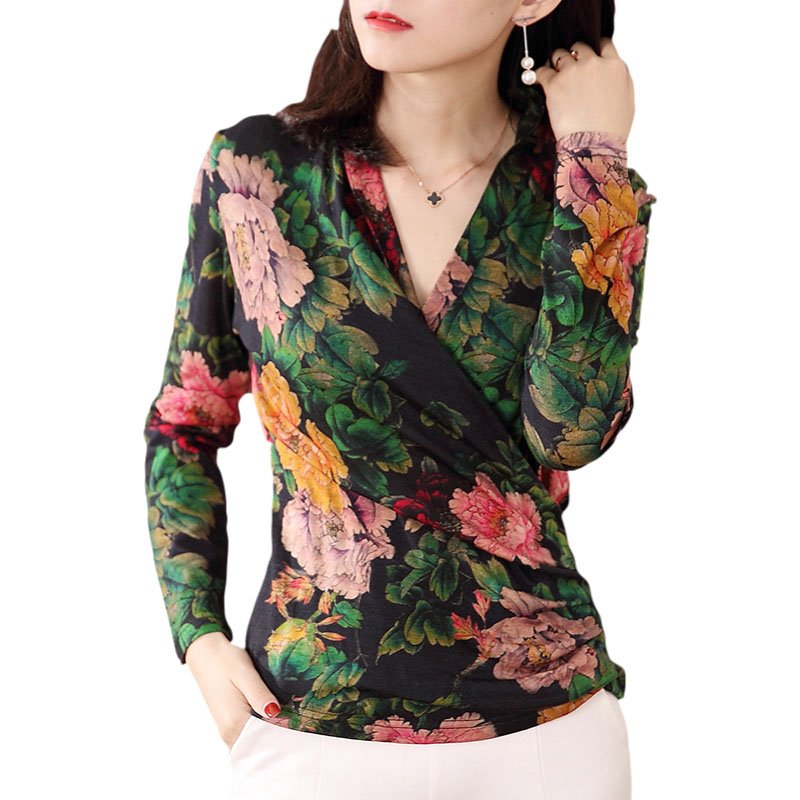Women Spring Autumn Style Lace Blouses Shirts Lady Casual Long Sleeve V-Neck Flower Printed Lace Blusas Tops DD8061