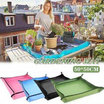 50*50CM Planting Mat PE Gardening Potting Mat Gardening Pad Waterproof Reusable Flower Gardening Mats Transplanting Foldable Pad