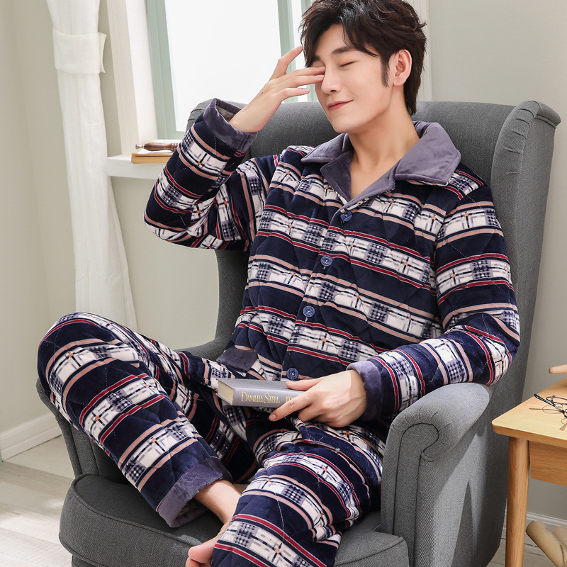 Coral Velvet Quilted Pajamas Men's Winter Thick Plus Velvet Warm Cotton-padded Jacket Three Layer Tracksuit Dissection Set