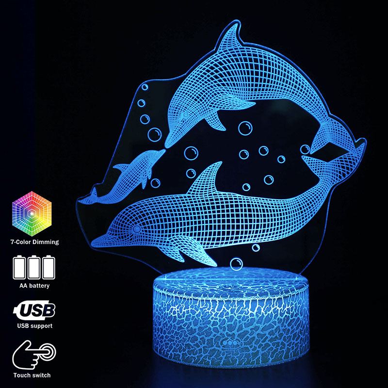 3D Illusion Dolphin Family Desk Lamp Touching LED Night Light Home Room Animal Lampen Decoration Creative Table Lamps For Gift