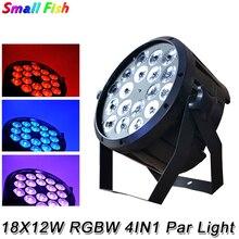 4 xlot boa qualidade conduziu a luz par quad 18x12 w 4in1 rgbw feixe de lavagem dmx par pode dj americano plástico led luzes palco plano lâmpadas led