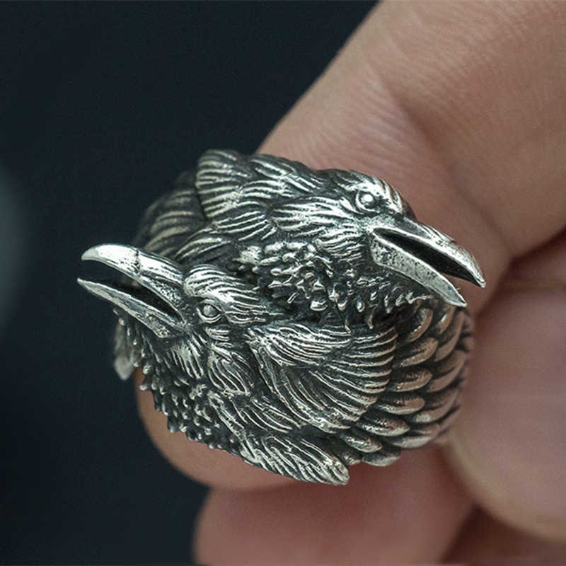 EYHIMD Viking Men Two Entwined Ravens Ring Norse Mythology Silver Color Odin Crow Stainless Steel Rings Nordic Amulet Jewelry