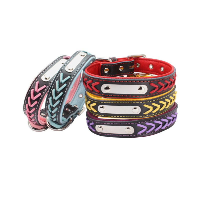 New Style Can Carve Writing Contrast Color Entirely Handmade Weaving Dog Neck Ring Genuine Leather Pet Collar Comfortable Underl