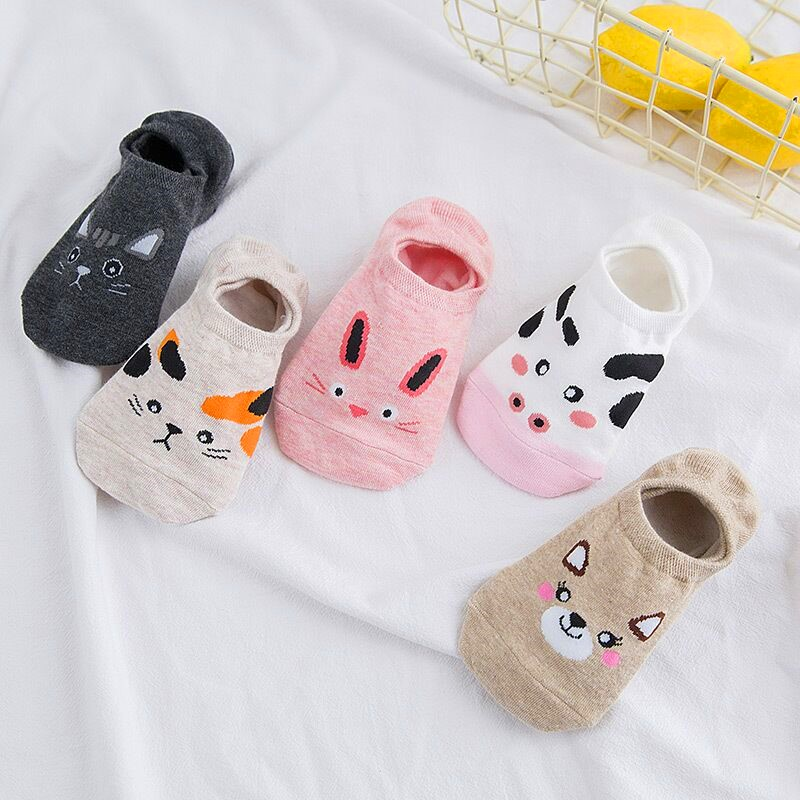Wholesale 5 Pairs Cute Harajuku Animal Socks Women Summer Korean Cat Bear Rabbit Cow Funny Low Cut Boat Sock Happy Sox Dropship
