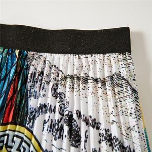 Image 5 - Artystyczny nadruk Peacock plisowana spódnica dla kobiet w stylu Vintage wysokiej talii linii elastyczne spódnice plażowe kobiety ubrania gorąca sprzedaż 2020