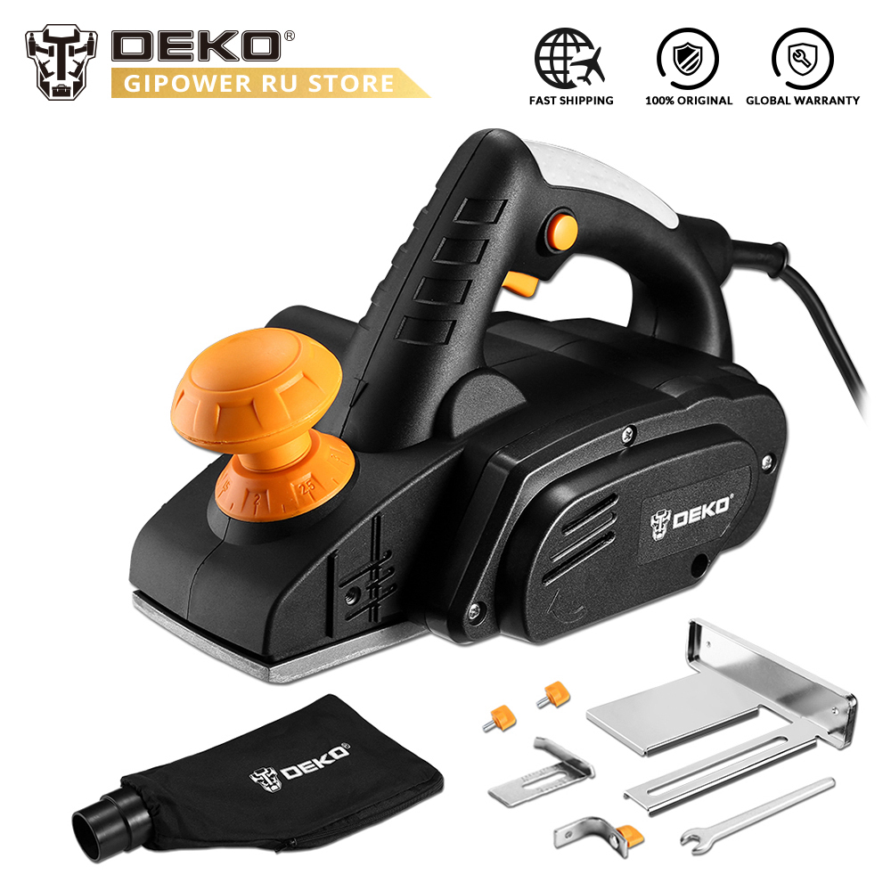 DEKO DKEP900 220V 900W Electric Planer Plane Variable Speed Hand Held Wood Cutting With Accessories