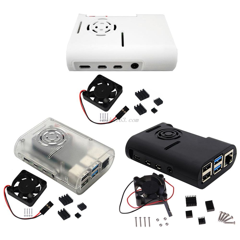 ABS Plastic Case Protective Cover Enclosure with Cooling Fan Heatsinks for <font><b>Raspberry</b></font> <font><b>Pi</b></font> <font><b>4</b></font> Model B Kit Accessories image