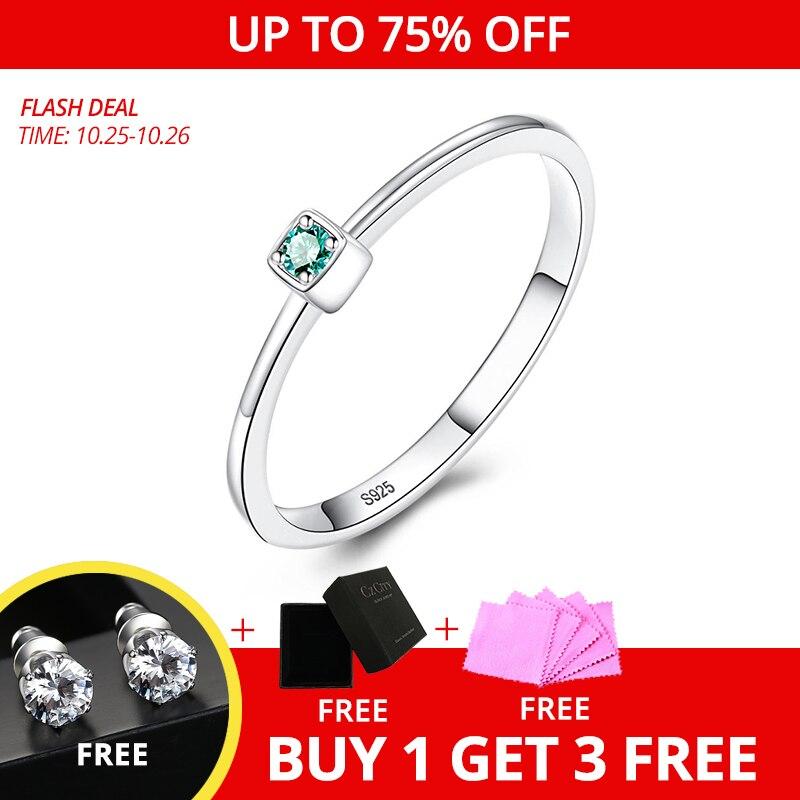 CZCITY véritable 925 Sterling argent VVS vert topaze anneaux de mariage pour les femmes minimaliste mince cercle gemme anneaux bijoux sculpture S925