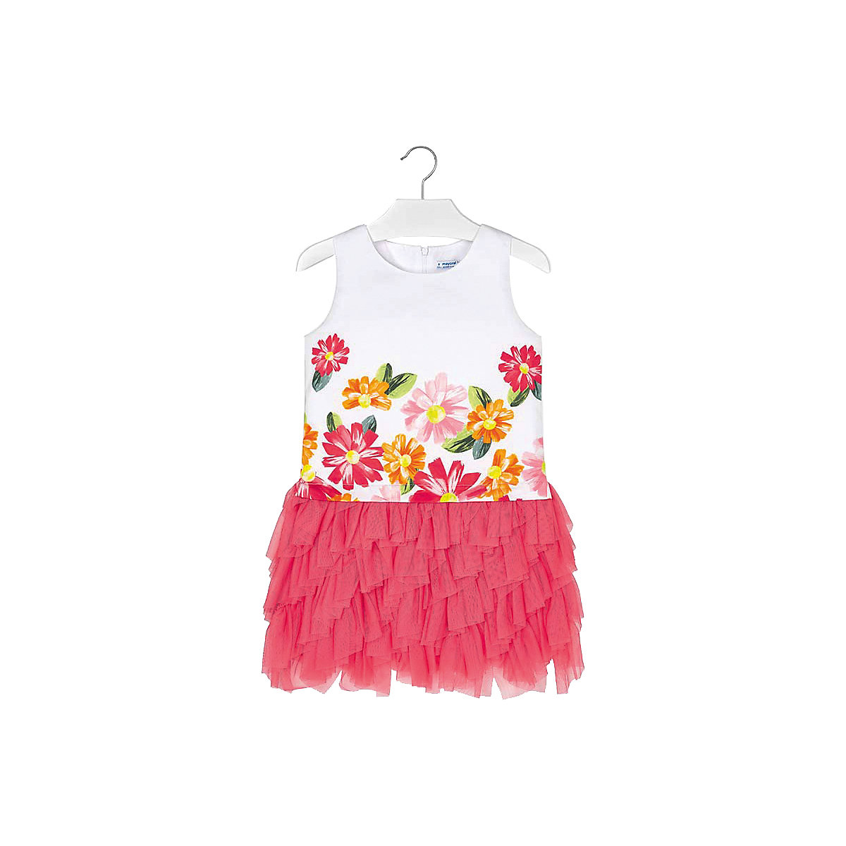 Фото - MAYORAL Dresses 10681504 Girl Children Party fitted pleated skirt Orange Cotton Preppy Style Floral Knee-Length Sleeveless Sleeve box pleated floral volume skirt