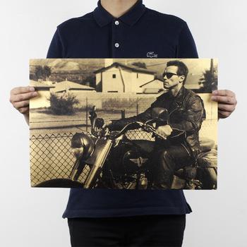 Film Terminator Arnold Schwarzenegger motocykl plakat z papieru typu Kraft obrazy do dekoracji mieszkania naklejka ścienna do pokoju obraz 51x35cm tanie i dobre opinie CN (pochodzenie) POSTER Mieszkanie Akrylowe filmowy bez ramki Klasyczne HB-606 Malowanie natryskowe Prostokąt poziomy Kraft paper