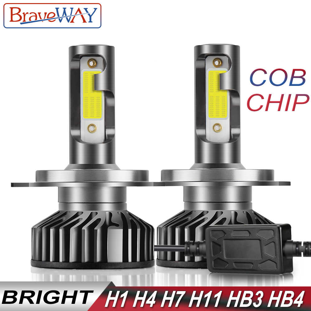 BraveWay COB Chip H4 LED Headlamps for Motorcycle H4 H7 Light Bulbs H1 LED Headlight H7 Canbus 60W 10000LM 6500K 12V HB3 HB4 H11