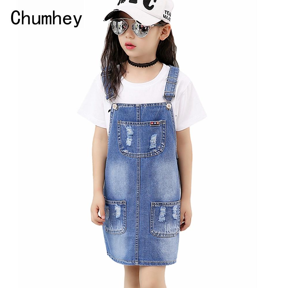 Chumhey 2-16T Sundress Girls Dress Girl Bib Suspender Dresses Summer Straps Denim Overalls Kids Clothing Children Clothes