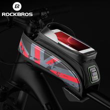 ROCKBROS Bicycle Bag MTB Road Bike Bag Rainproof Touch Screen Cycling Front Tube Frame Bag 5.8/6.0 Phone Case Bike Accessories