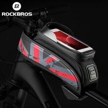 ROCKBROS bisiklet çanta MTB yol bisikleti çantası yağmur geçirmez dokunmatik ekran bisiklet ön tüp şasi çantası 5.8/6.0 telefon kılıfı bisiklet aksesuarları
