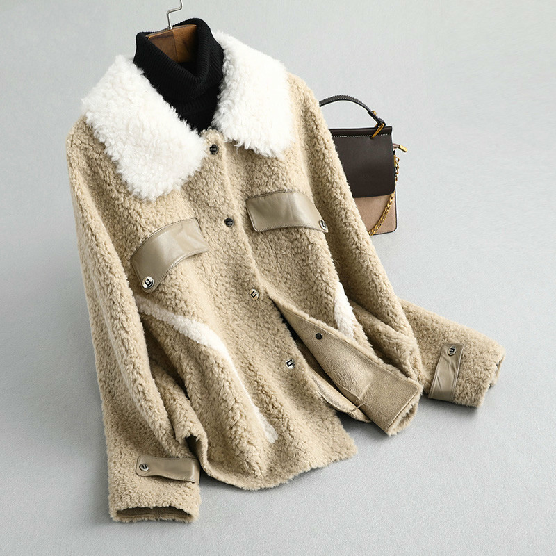 Real Fur Coat Streetwear Wool Jacket Korean Autumn Winter Coat Women Clothes 2020 Sheep Shearling Tops Suede Lining ZT3563