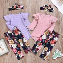 Girls Two-piece Sets Solid Color Top+Floral Printed Trousers+Headband Casual Clothing Suits Kids Casual Set