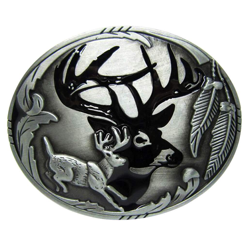 Vintage Western Belt Buckle Deer Hunting Antique Animal Elk Casual Business