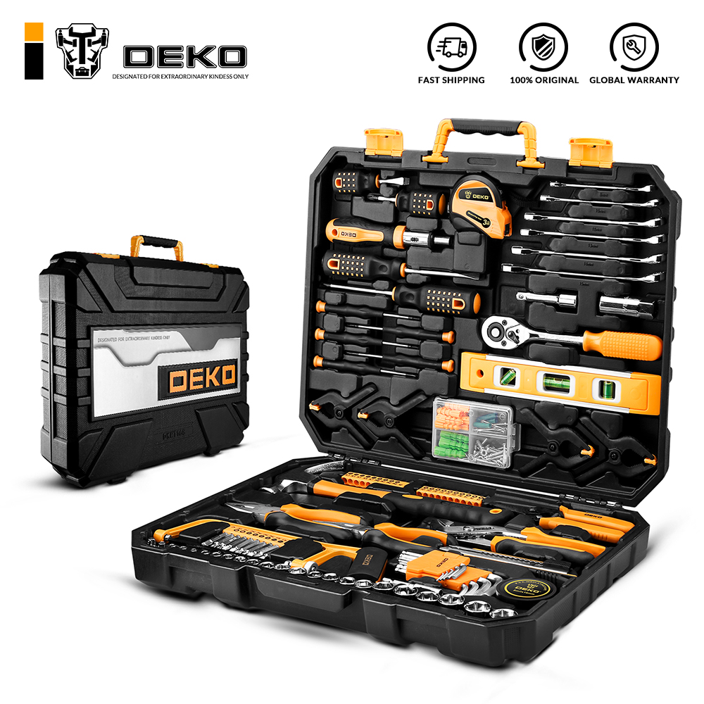 DEKO DKMT168 Socket Wrench Tool Set Auto Repair Mixed Tool Combination Package Hand Tool Kit with Plastic Toolbox Storage Case(China)
