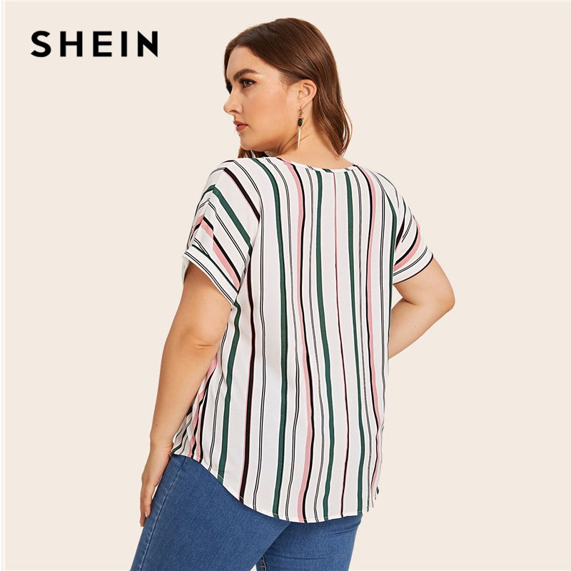 SHEIN Plus Size Multicolor Curved Hem Striped Blouse Top Women Summer V Neck Short Sleeve Casual Plus Tops and Blouses 2
