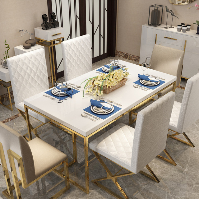 Light Luxury Dining Table and Chair Set  2