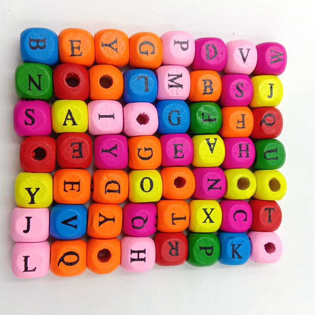 100 Pcs ตัวอักษรไม้ลูกปัด 10 มม.Cube Spacer ลูกปัด DIY หัตถกรรมสำหรับสร้อยข้อมือสร้อยคอเครื่องประดับ