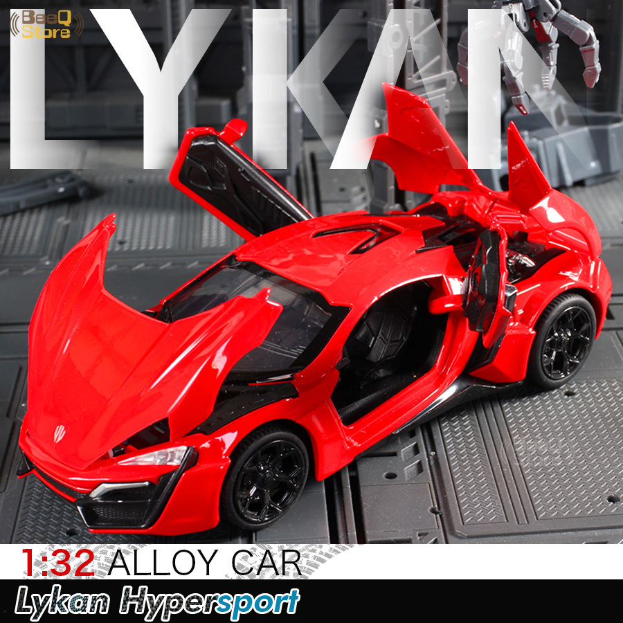 1:32 Lykan Speeds And Passion 7 Pull Back Model Alloy Sports Diecast Sound Light Super Racing Car Toys For Children Hot Wheel