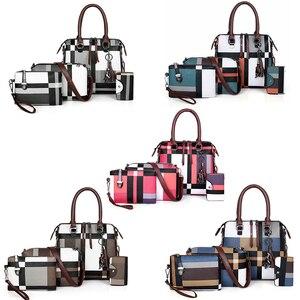 Image 2 - Gradosoo patrón de cuadros bolsos 4 juegos de cuero de las mujeres bolso mujer de hombro bolso de las mujeres bolso de LBF651