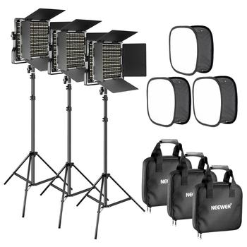 Neewer 3 Packs Bi-color 660 LED Video Light with Stand and Softbox Kit: (3)3200-5600K CRI96+ Dimmable Light with U Bracket travor tl 600a 2 4g kit bi color led video light 3200k 5500k for photography shooting three light 6pcs battery 3 light standing