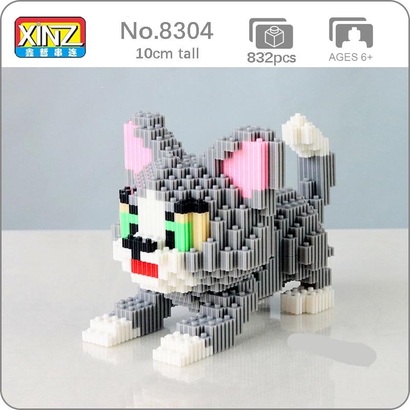 Xizai 8052 dos desenhos animados gato bonito gatinho cinzento animal 3d modelo diy mini blocos mágicos tijolos de construção brinquedo para crianças sem caixa