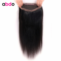 360 Lace Frontal Closure Straight Closure Peruvian 360 Frontal Closure With Baby Hair Non Remy 100% Human Hair Frontal Abdo