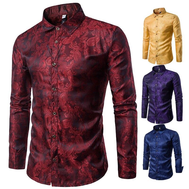 2019 Autumn Fashion Features Dark Print Mens Shirt Casual Lapel Long Sleeve