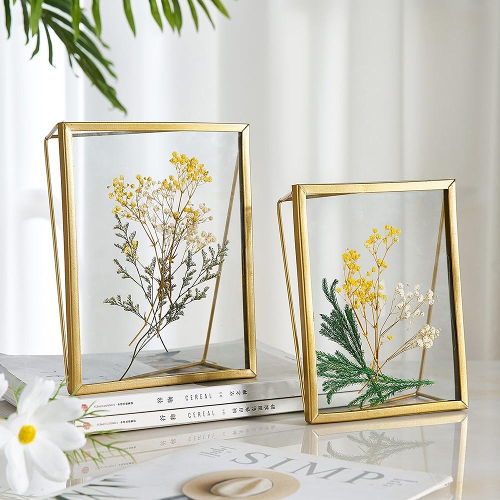 Marco de hierro para fotos de cristal de flores secas marco de fotos Retro creativo planta DIY marco de foto de espécimen de hierro decorativo para el hogar marcos de flor eterna