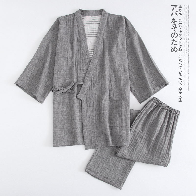 Pure Cotton Double Gauze Classic Japanese Kimono Pajamas Tops Pants Suit Men / Women Thin Section Lace Up Home Service