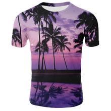 Camiseta masculina verão impressa em tamanho grande camiseta masculina camiseta gola redonda preta los praia