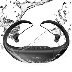 Tayogo Bluetooth 100% Waterproof MP3 Player Headphone with Pedometer Radio FM Underwater MP3 Music Player for Swimming Sports