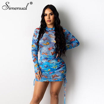 Simenual Mesh See Through Sexy Party Dress Women Long Sleeve Drawstring Ruched Mini Dresses Bodycon Butterfly Print Clubwear Hot sexy women dress see through mesh bandage bodycon long sleeve evening party clubwear sexy club style mini dress