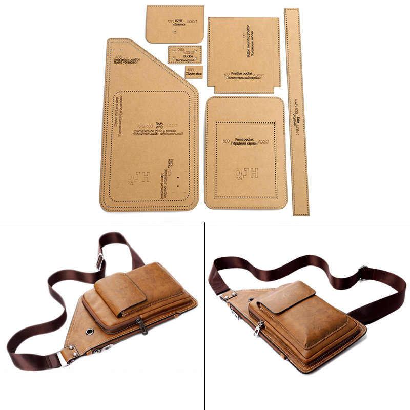 DIY Handmade Leather Men's Fashion Chest Bag Sewing Pattern Hard Kraft Paper Stencil Template DIY Craft Supplies 37cm*20cm