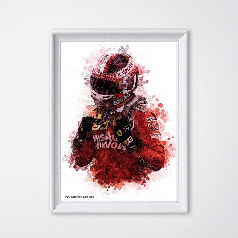 Affiche de conducteur de course avec formule Grand Prix, impression de Portrait de Charles, claire, toile, peinture, tableau mural, décor de maison, cadeau pour garçon