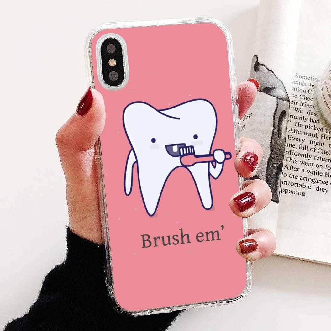 TPU krzemu skrzynka śliczny dentysta Dental koronowany ząb dla Samsung Galaxy S6 S10E S10 krawędzi Lite Plus rdzeń Grand Prime Alpha J1 mini