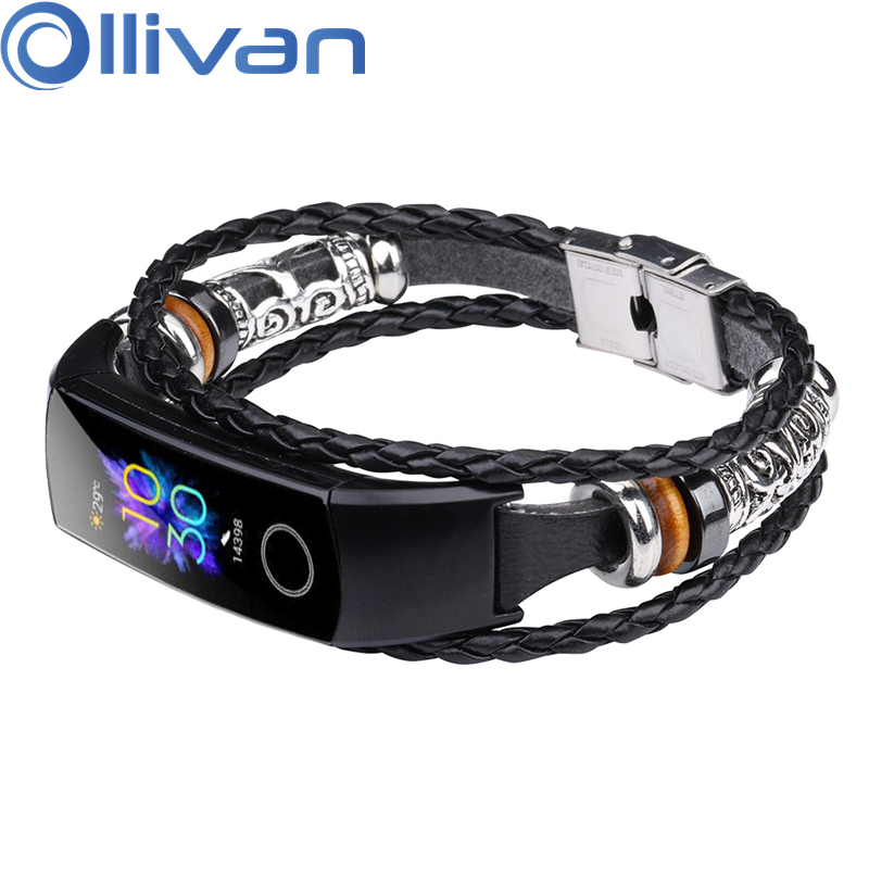 OLLIVAN 3 Layers Black Sliver Punk Strap Genuine Leather Bracelet For Huawei Honor Band 5 4 Steel Strap Men Nylon Jewelry Clasp
