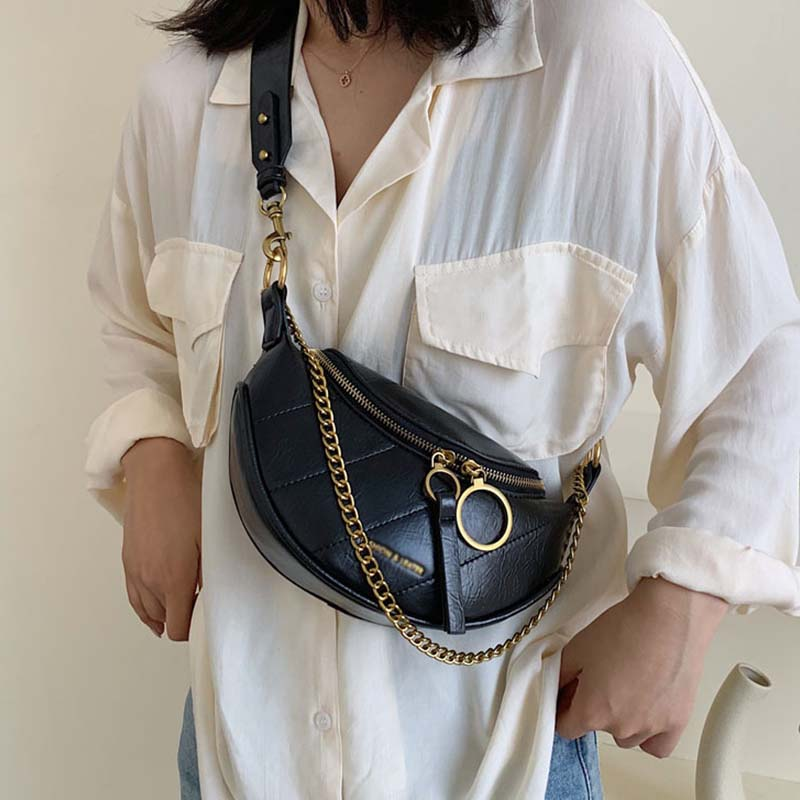 New Women Fanny Pack Chain Fashion Leather Fanny Pack Zipper Banana Bag Chest Bag Women High Capacity Kidney Bag Shoulder Bags