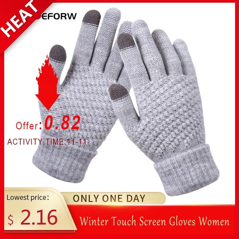 BEFORW 2019 Winter Touch Screen Gloves For Women Men Warm Stretch Knitted Mittens Imitation Wool Full Finger Black White Gloves
