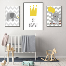 Cartoon Wall Art Print Nordic Painting Poster Elephant Canvas Print Nursery Posters And Prints Wall Pictures For Kids Room Decor cartoon universe planet astronaut print canvas painting nordic poster wall art space print nursery wall pictures kids room decor